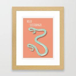 Snake card - hello stranger Framed Art Print