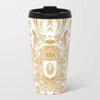 Gold Glitter Leaves Travel Mug