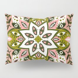 Prickly Mandala – Sage & Pink Pillow Sham