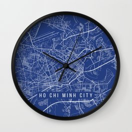 Ho Chi Minh City Map, USA - Blue Wall Clock