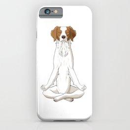 Meditating Epagneul Breton Dog iPhone Case