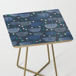 Botanical Block Print M+M Navy by Friztin Side Table