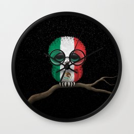 Baby Owl with Glasses and Mexican Flag Wall Clock