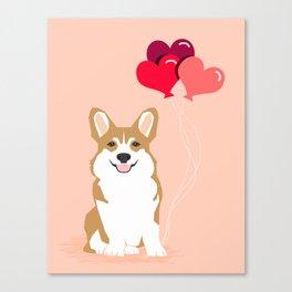 Corgi Heart Balloon - Cute Valentines Corgi, Dog, Pet, Cute, Animal, Dog Love, Corgi, Wuff You,  Canvas Print