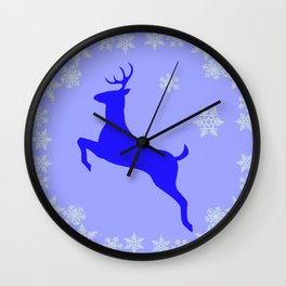 DECORATIVE LEAPING CHRISTMAS  BLUE DEER & SNOWFLAKES Wall Clock