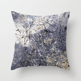 Orion - Jackson Pollock style abstract drip painting by Rasko Throw Pillow