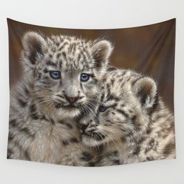 Snow Leopard Cubs - Playmates Wall Tapestry
