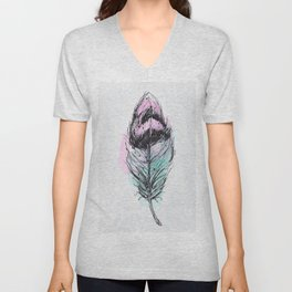 AP078 Watercolor feather Unisex V-Neck