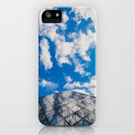 Cloud reflection in the Louvre Pyramid iPhone Case