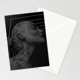 girl, line, glitch Stationery Cards
