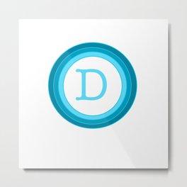 Blue letter D Metal Print