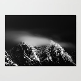 Black and white long exposure of clouds above mountain Canvas Print