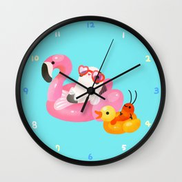 Cory cats in the swimming pool 2 Wall Clock