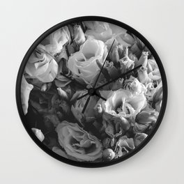 Black and White Lisianthus Wall Clock