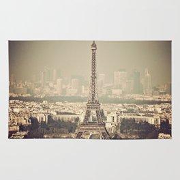 paris skyline aerial view with eiffel tower Rug