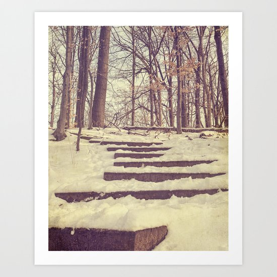 snowy stairs Art Print
