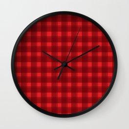 Red checkered background #society6 #decor #buyart #artprint Wall Clock
