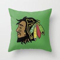 blackhawks Throw Pillows featuring Rastafarian Blackhawk by beejammerican