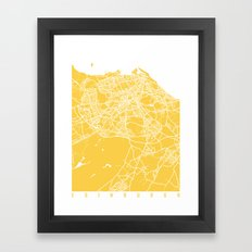 Edinburgh map yellow Framed Art Print