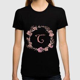 Letter C Rose Pink Initial Monogram - Letter c T-shirt