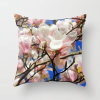 magnolia Throw Pillows featuring  Magnolia. by Assiyam