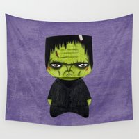 actor Wall Tapestries featuring A Boy - Frankenstein's monster by Christophe Chiozzi