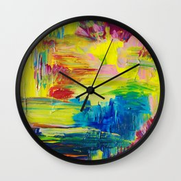 GOING THROUGH THE MOTIONS -  Stunning Saturated Bold Colors Modern Nature Abstract Wall Clock
