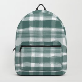 Watercolor Brushstroke Plaid Pattern Pantone Forest Biome 19-5230 Backpack