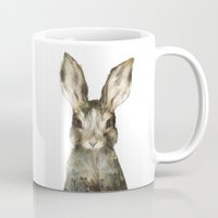 furry Mugs featuring Little Rabbit by Amy Hamilton