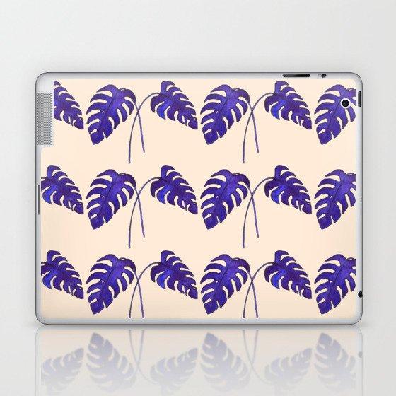 Indigo Monstera Leaf Watercolor on Blush Laptop & iPad Skin