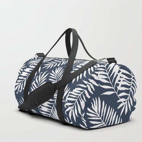 Tropical Palm Leaves - Navy Blue by creativeindex