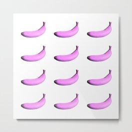 Purple bananas pattern on a white background Metal Print