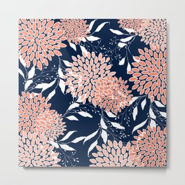 Floral Prints and Leaves, Navy, Coral and White Metal Print