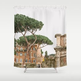 View of Rome from Forum - Architecture, Italy Travel Photography Shower Curtain