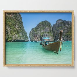 Paradise Island. Long-tail boat floating in transparent water of Maya Bay beach, Thailand. Serving Tray