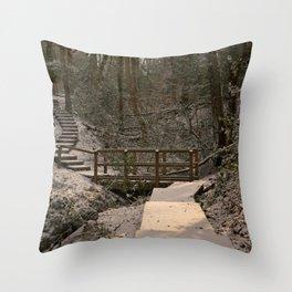Snowy Ironbridge Gorge Throw Pillow