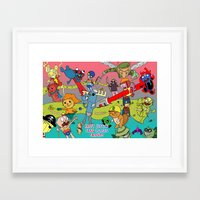 justice league Framed Art Prints featuring Happy Tree Friends Justice League by Kozmanaut