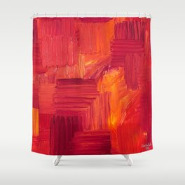 Fiery, Vibrant Oil Painting. Passionate Bright Red and Orange Abstract Art.  Shower Curtain