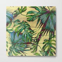 Tropical Palm Leaves on Wood Metal Print