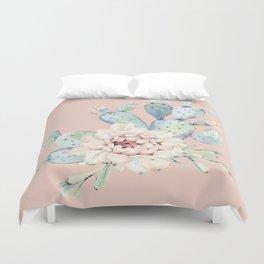 Sweet Pink Rose Desert Cactus Duvet Cover