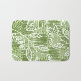 Abstract Floral Jungle Pattern with Flowers Leaves and Stripes in Green Bath Mat