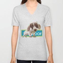 """""""WOOF"""" ~ Dachshund, Weiner Dog, Doxie, everywhere! Unisex V-Neck"""