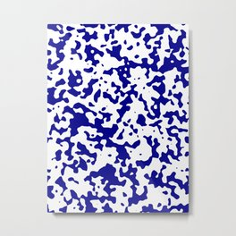 Spots - White and Dark Blue Metal Print