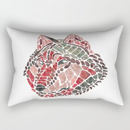 Red Wolf Painted Mosaic Illustration Rectangular Pillow