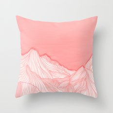Lines in the mountains - pink Throw Pillow