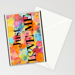 JUST LOVE ME - Beautiful Valentine's Day Romance Love Abstract Painting Sweet Romantic Typography Stationery Cards