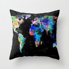 world map political watercolor Throw Pillow