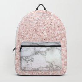 She Sparkles - Pastel Pink Glitter Rose Gold Marble Backpack