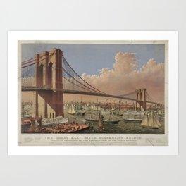 Vintage Illustration of the Brooklyn Bridge (1877) Art Print