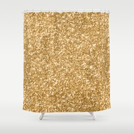Trendy Gold Glitter Texture Print Shower Curtain